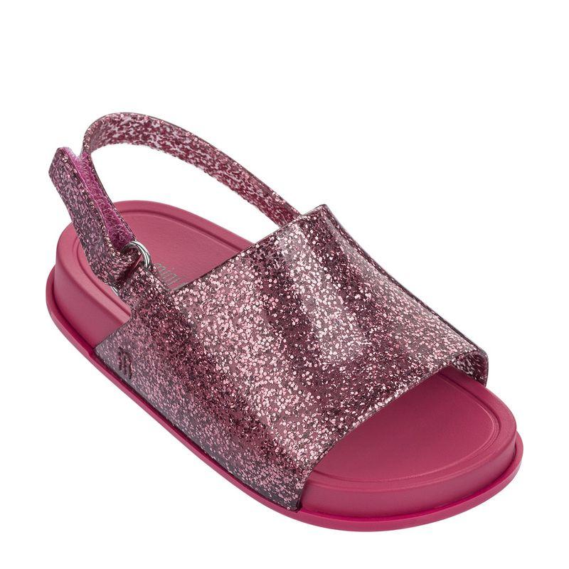 31997-Mini-Melissa-Beach-Slide-Sandal-RosaGlitter-Lado