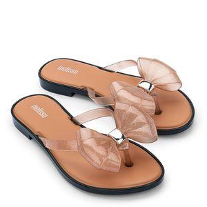 Melissa Flip Flop Slim Bege Glitter Preto