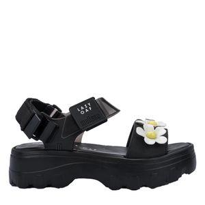 Melissa Kick Off Sandal + Lazy Oaf Preto Branco Amarelo