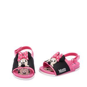 Mini Melissa Beach Slide Sandal + Mickey And Friends Rosa Preto