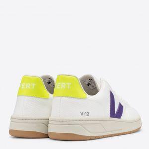 Tênis Vert V-12 B-Mesh White Purple Jaune Fluo