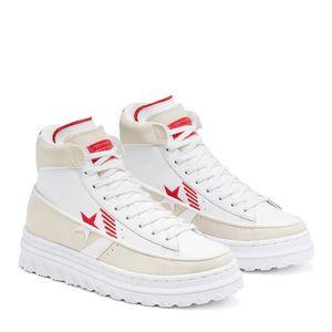 Tênis Converse Chuck Taylor All Star Pro Leather X2 Hi Egret White University Red